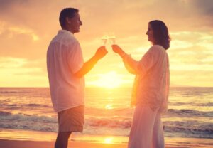 Romantic Retired Couple Drinking Champagne to Celebrate